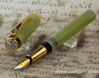 handmade fountain pen Fountainpen handmade jade green