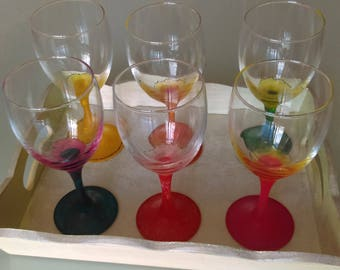 6 GLASSES COLLECTION WAS PAINTED BY HAND