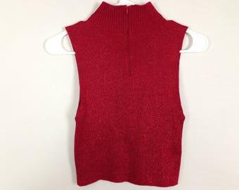Red zip up turtleneck top size S/M