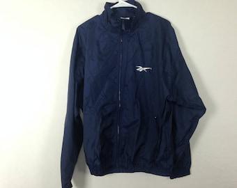 navy reebok windbreaker jacket size M