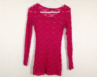 red floral mesh see through top size S/M
