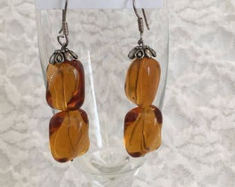 Amber Colored Square Bead Pierced Drop Vintage Earrings