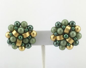Japanese Green and Gold Earrings, Cluster Bead Earrings, Clip On, Vintage, Mid Century