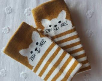 Baby mustard cat knee high socks 0-1 yr