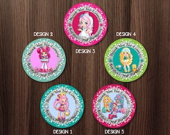 Personalized Shopkins Shoppies Cupcake Topper Tag Printable Birthday Party Bubbleisha Donatina Bridie Daisy Petals Favor Tags - Digital File