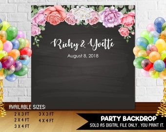 Wedding Baby Shower Baby Sprinkle Birthday Party Backdrop Watercolor Roses Flowers Chalkboard DIY Printable - Digital File
