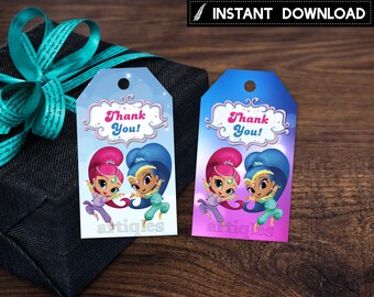 Instant Download - Shimmer and Shine Thank You Tags Birthday Party Genies Genie Favor Tag Tags Printable DIY - Digital File