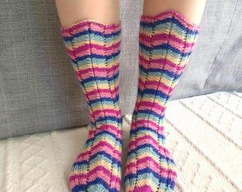 Hand knit women's colorful stripe socks