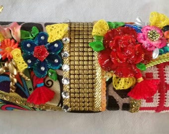 Handmade Patchwork and fabric decoupage one of a kind flowers clutch. 3D Beautiful details.