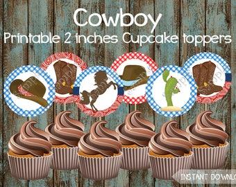 Cowboy Cupcake Toppers, Cowboy Printable Cupcake Toppers, Cowboy Party Supplies, Cowboy Cake Topper, Cowboy Party Supplies, Cowboy Birthday