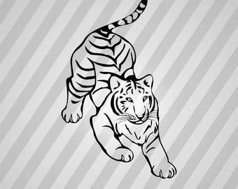 Tiger Silhouette - Svg Dxf Eps Silhouette Rld Rdworks Pdf Png Ai Files Digital Cut Vector File Svg File Cricut Laser Cut