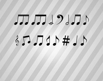 Variety Of Musical Notes Silhouette - Svg Dxf Eps Silhouette Rld RDWorks Pdf Png AI Files Digital Cut Vector File Svg File Cricut Laser Cut