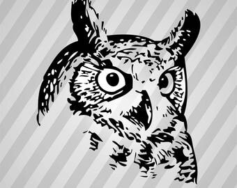 great owl - Svg Dxf Eps Silhouette Rld RDWorks Pdf Png AI Files Digital Cut Vector File Svg File Cricut Laser Cut