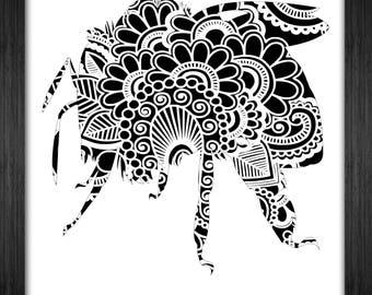 Bee Papercut Template Mandala Henna - Svg Paper Cut Templates Stencil Line Art Pdf Cut Files Digital Clip Art Drawing