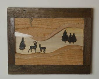 Deer Scene Wood burned Wall Frame