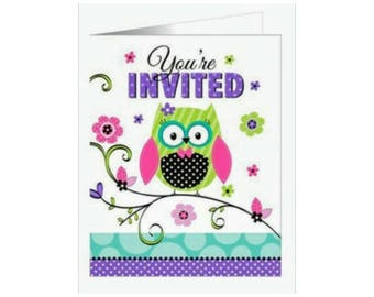 8pc. Girl Owl Birthday or Baby Shower Invitations ~ Party Supplies
