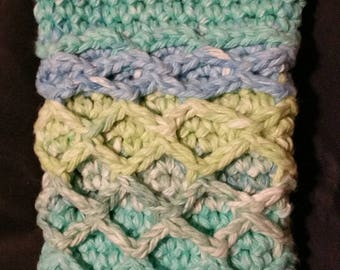 Samsung Galaxy Note Ocean Blue Green Fish Net Crocheted Cell Phone Case