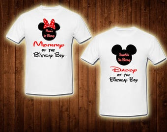 family shirts mickey mouse with name and age birthday theme mom of the birthday boy dad of the birthday girl