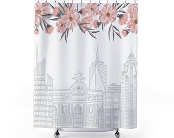 New York Skyline Shower Curtain Boho Shower Curtain Floral Bathroom Decor Pink Shower Curtain