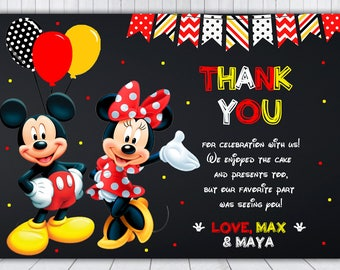 Mickey and Minnie Thank You Card