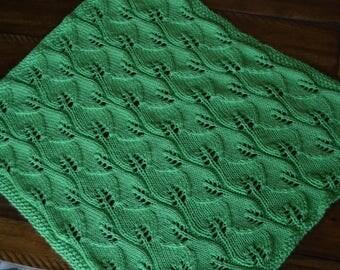 Hand Knit Baby Blanket, Leaf baby blanket, Baby gift, Baby shower gift, Baby blanket, Knitted baby blanket, Gender neutral baby blanket