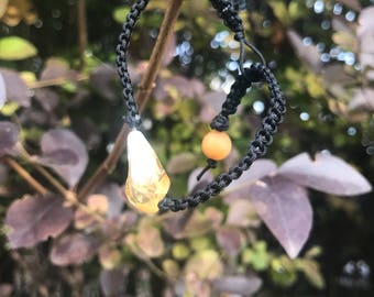 Hemp bracelet with citrine