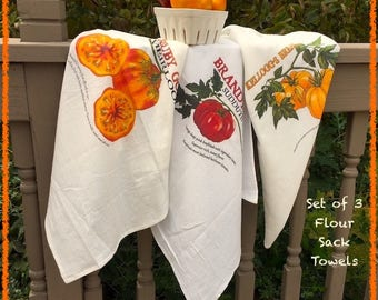 Trio of Heirloom Tomato Kitchen Tea Towels -Brandywine, Ruby Gold & Kellogg's Breakfast Tomato. Gardening Gift. Free Seeds!
