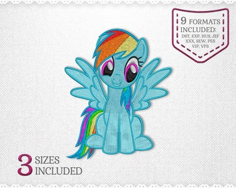 My Little Pony Rainbow Embroidery Machine Design - 3 Sizes - INSTANT DOWNLOAD - Applique, Embroidery, Designs