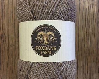 Castlemilk Moorit luxury worsted spun wool with 20% tussah silk. 50 gramme ball.