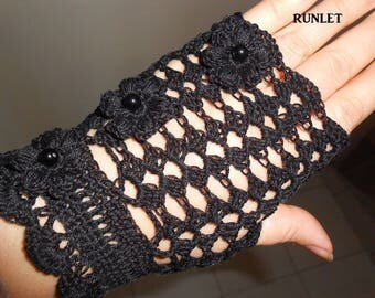 black fingerless ,gloves summer