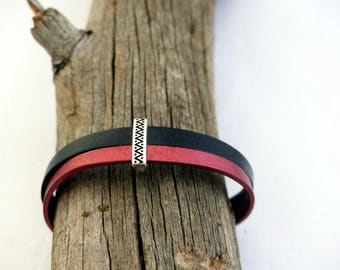 Bracelet leather red and black