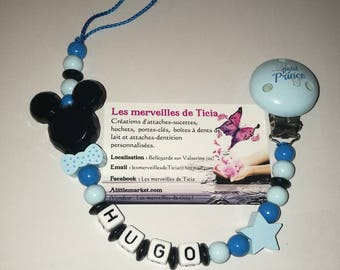 """Pacifier clip personalized """"Mickey"""""""