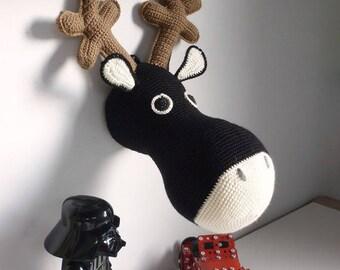 Trophy Elk black or grey hand crocheted head