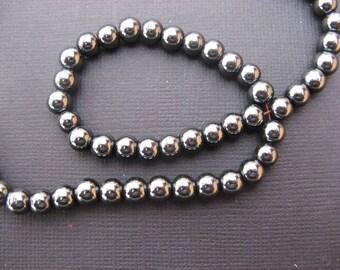 Hematite: 20 round beads 6 mm - gemstone hematin