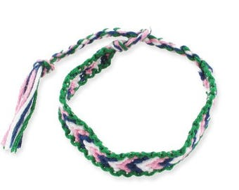 1 white V blue friendship bracelet pink and green