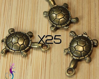 25 charms 19x12mm bronze turtle