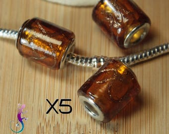 5 European beads amber color murano lampwork glass pendant charms for bracelet or necklace European pandora style