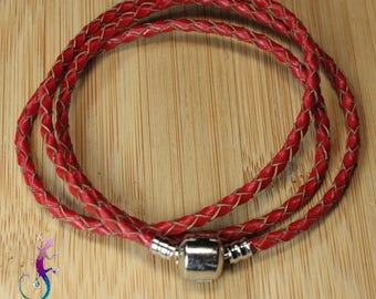 2 European bracelets 3 rounds red braided genuine leather cord