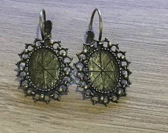 set of 4 earrings in brass cabochon 13 x 18 mm