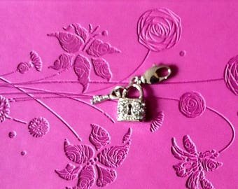 For bag or portable lock and key silver charms