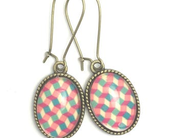 Stud Earrings, geometric glass cabochon