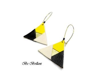 Leather earrings sleepers large triangles, lemon yellow black cream gold