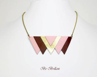 Pink leather ▲6 triangles▲chaine ball brass necklace, golden beets pastel