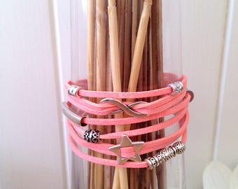 Summer MULTISTRAND Cuff Bracelet cords pink suede with silver metal charms
