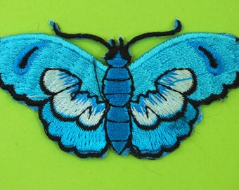 FABRIC FUSIBLE APPLIQUE: 75 * 35mm blue butterfly