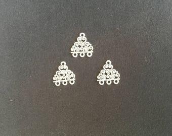 3 Connecteurs filigranés 3 crochets métal antique argenté