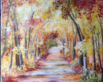 Walk in the autumn palette knife oil painting