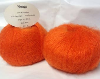 set of 10 balls of wool / kid mohair /orange/ made in France