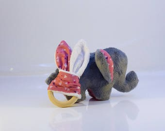 Plush Poponon the elephant and its teething ring