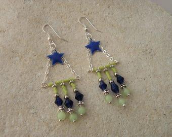 Ethnic earrings blue enamel star